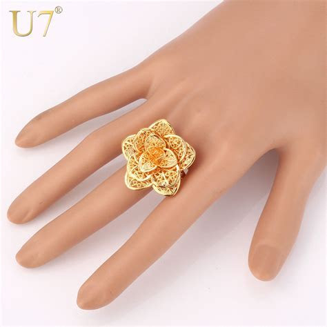 U7 Brand Big Flower Ring Gold Color Women Female Jewelry