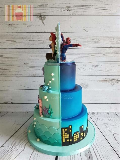 Half Spiderman / half the little mermaid by Kokoro Cakes