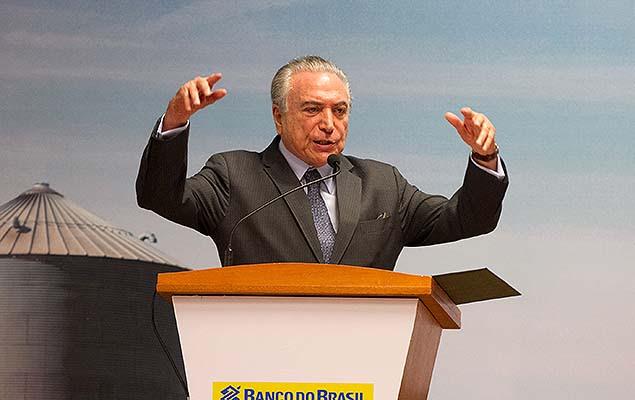 Presidente Michel Temer em anúncio de R$ 12 bi para custeio da safra em Ribeirão Preto
