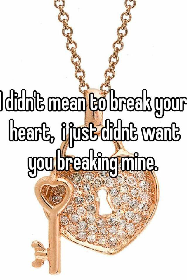 I Didnt Mean To Break Your Heart I Just Didnt Want You Breaking Mine