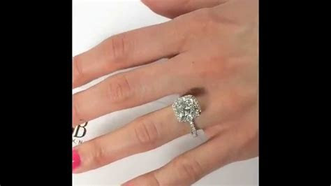 carat cushion cut diamond halo engagement ring youtube