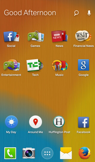 Screenshots from the Firefox Launcher for Android