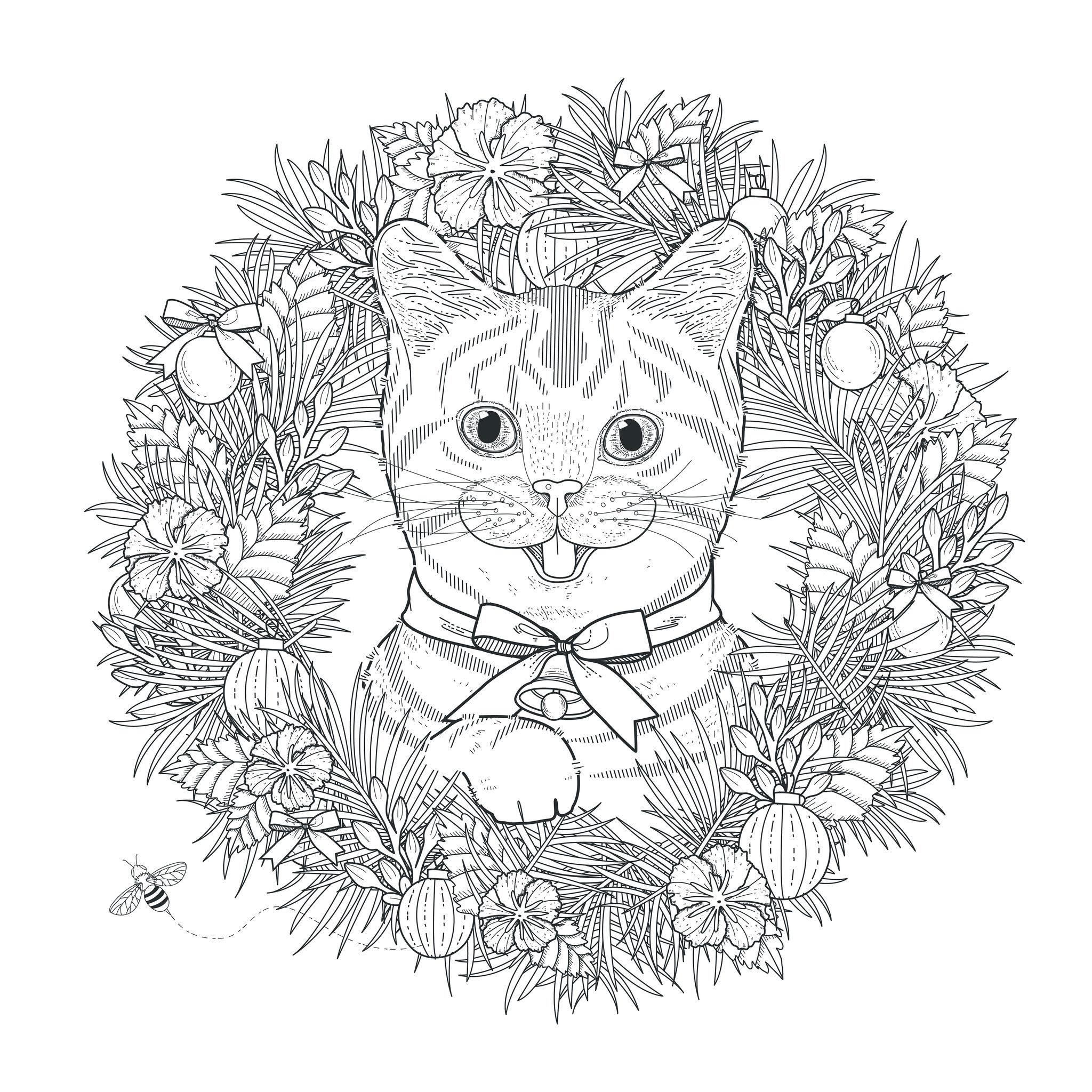 coloring page mandala cat by kchung