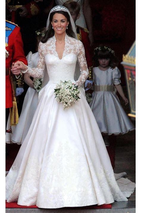 Kate Middleton White Long Sleeve Celebrity Wedding Dress