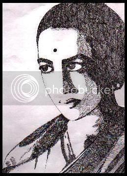 Rukminidevi. Medium: Sketched using Black micro-tip pen. (c) Pavithra