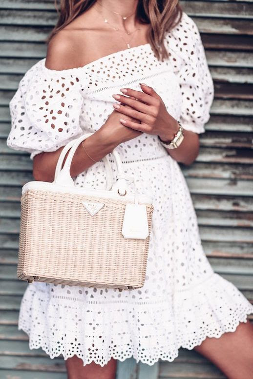 Le Fashion Blog Off Shoulder White Lace Dress Wicker Tote Bag Via The Viva Luxury