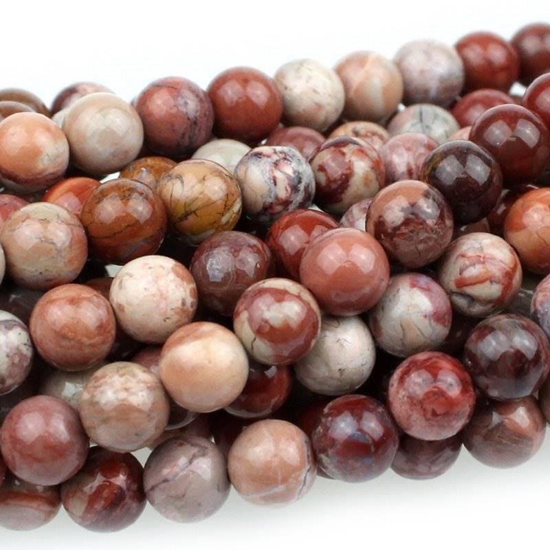 s47549 Stone Beads - 6 mm Round - Red Porcelain Jasper (strand)