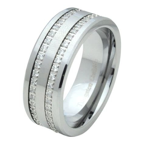 tungsten carbide mens comfort fit wedding ring band cz