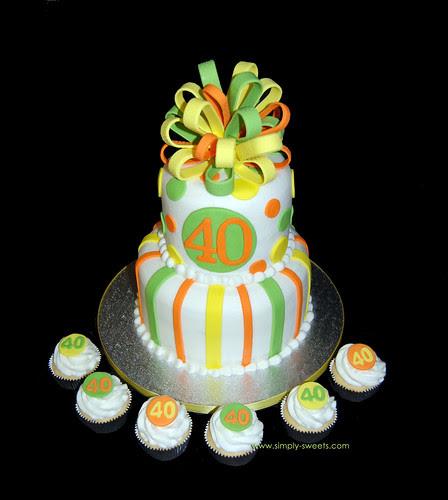 40th birthday yellow orange and lime green 2 tier birthday cake