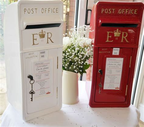 Royal Mail post box in red or white, for cards, wedding