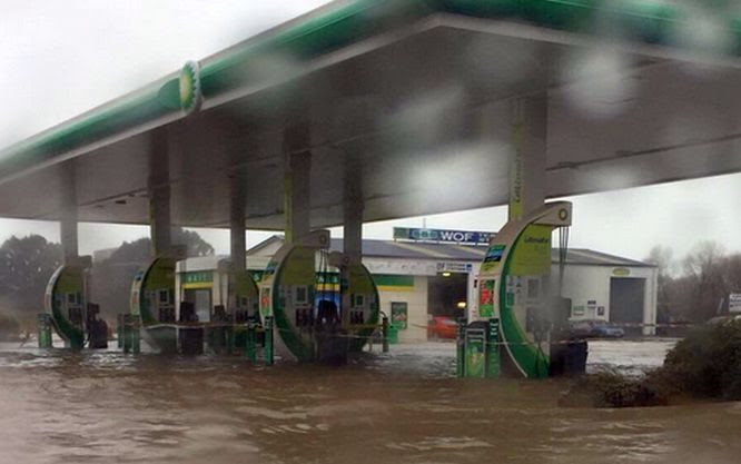 Flooding at a service station in Timaru.