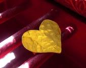 Hammered Brass Heart Ring, Handmade & handcut heart shape, nature jewelry, Moon texture - MouawadArtisans