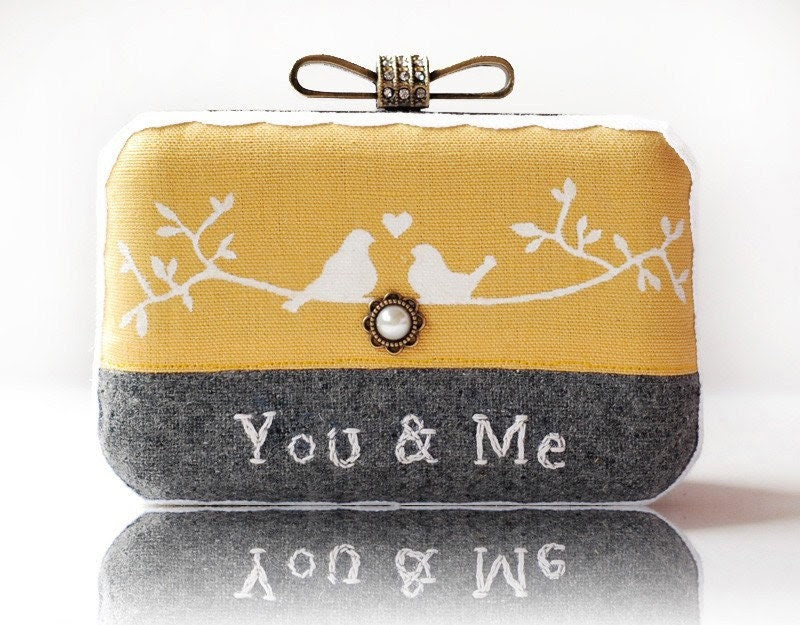 Love Bird Wool Embroidered Box Clutch Hand Painted Linen Messenger Bag Yellow Grey Wedding Gift Mori Girl Minaudiere - ifashionlady