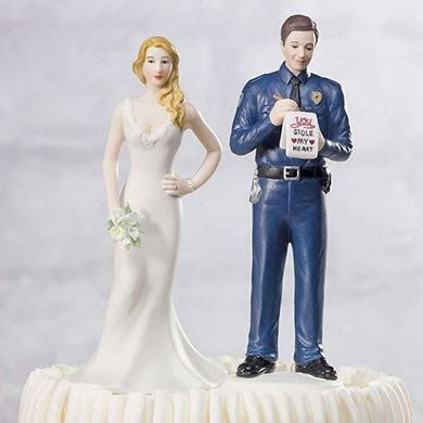 Bride and Groom Policeman Cop Wedding Cake Topper