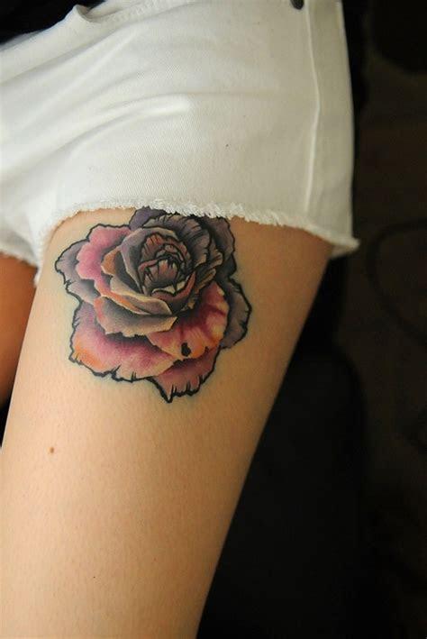 colorful rose leg tat tattoo design ideas