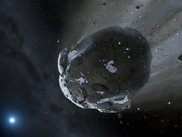 Impressão artística de asteroide que contem água.