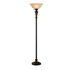 Shop Portfolio 71-in 3-Way Bronze Torchiere Floor Lamp with Ivory ...