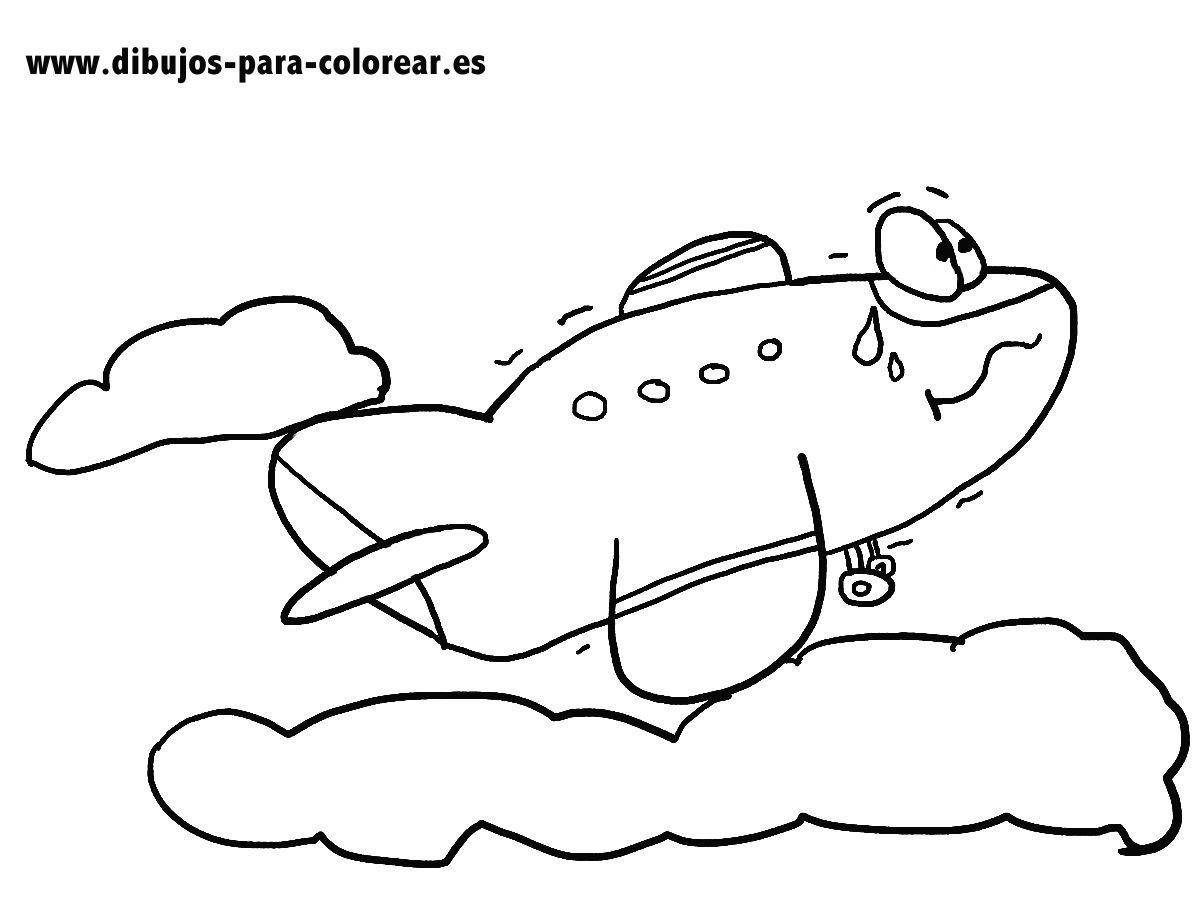 El Avion Y Las Nubes Dibujos Para Colorear