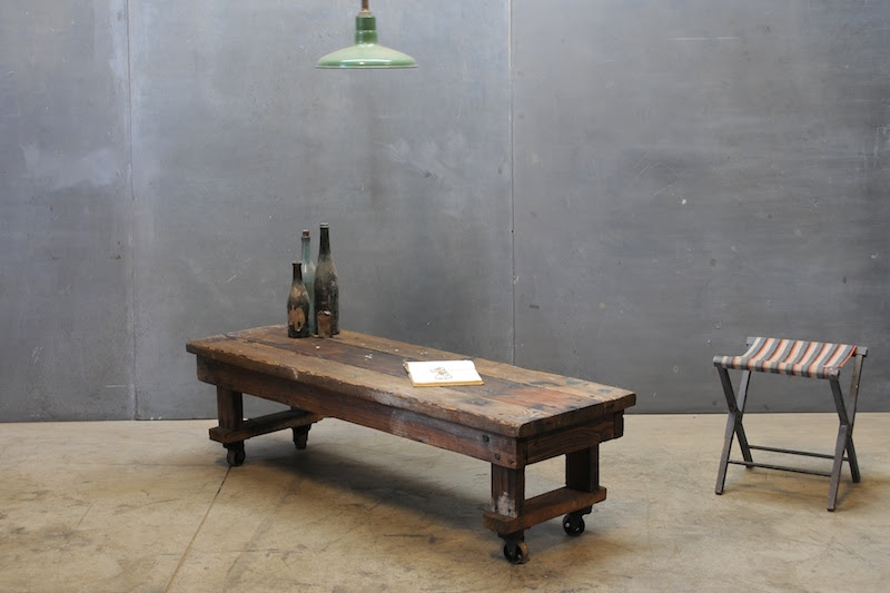Craftsman Rolling Coffee Table Bench : 20th Century Vintage ...