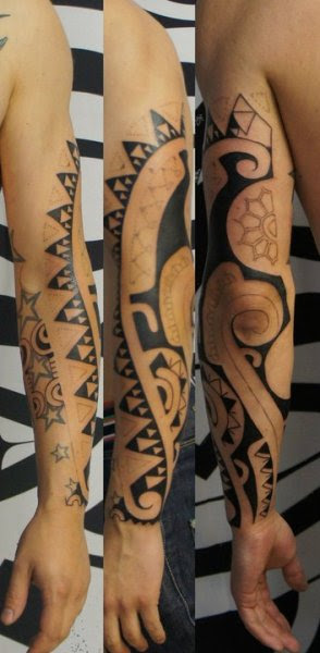 Stars And Tribal Flowers Elbow Tattoo