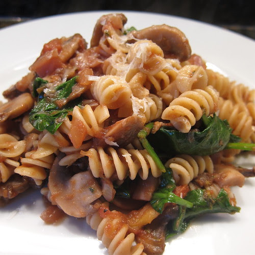 #76 Pasta with Mushrooms, Anchovies & Spinach