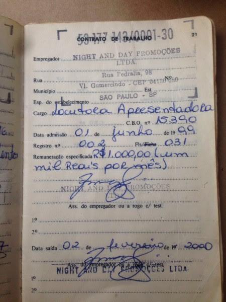 A carteira de trabalho de Flávia, usada na denúncia de peculato