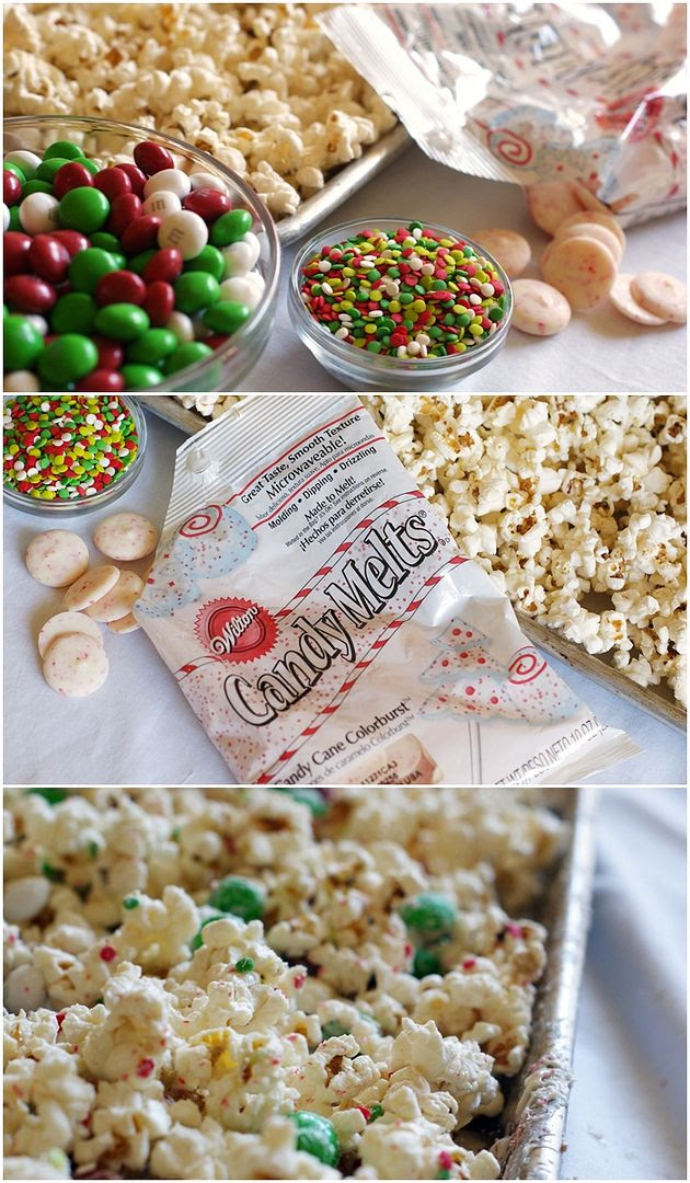 Peppermint Popcorn Crunch...a quick and easy recipe for a holiday treat that is perfect for gift-giving.