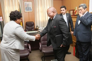 Iranian delegation holds meeting with Republic of Zimbabwe officials including Vice-President Joice Mujuru. Both nations have faced western sanctions. by Pan-African News Wire File Photos