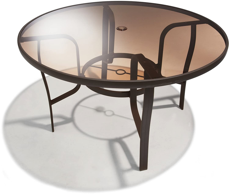 48in Round Dining Table Outdoor Umbrella Hole Aluminum ...