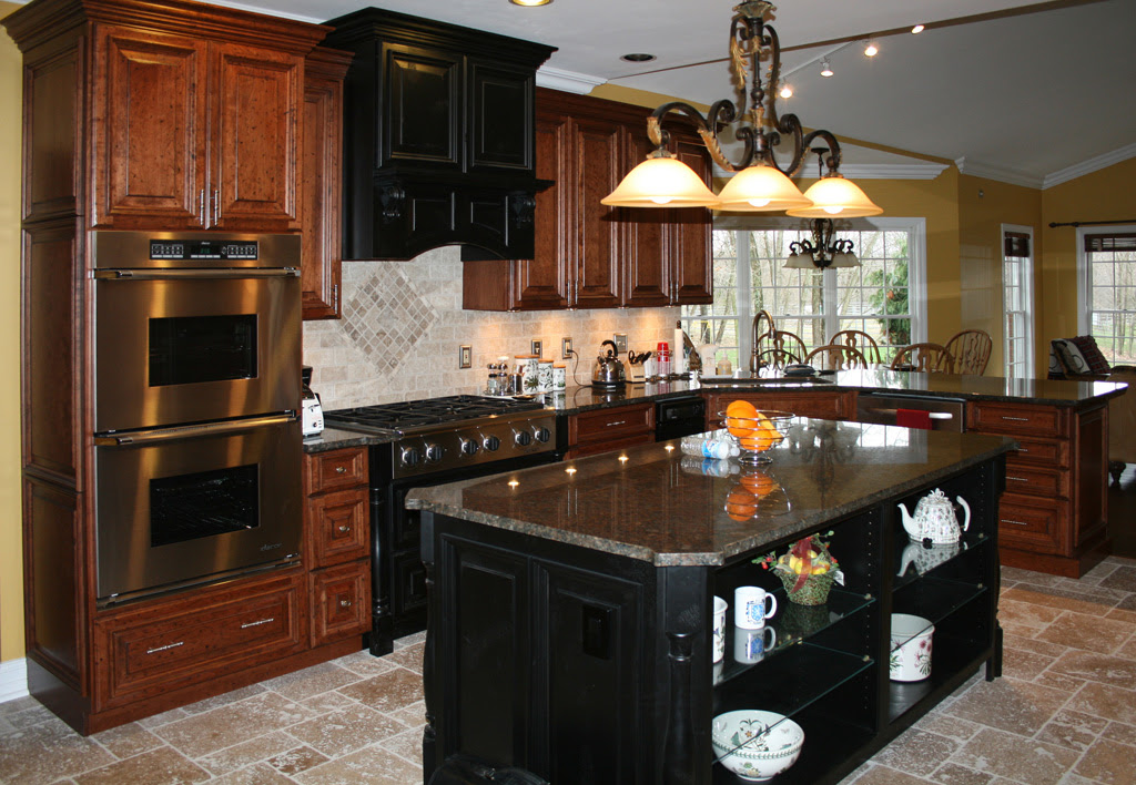Dark Cherry Color Kitchen Cabinets And Isles Modern Home Design And Decor