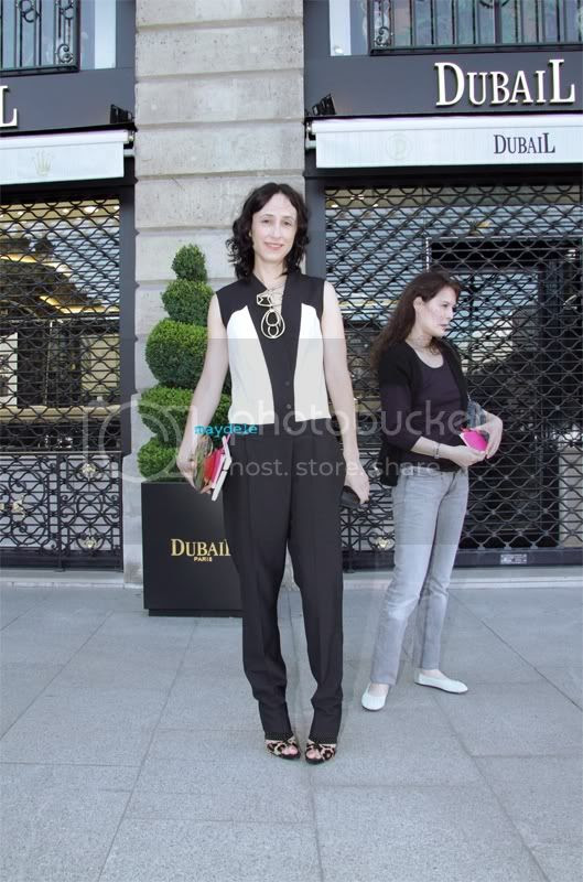 Nicole Phelps style.com Versace Haute Couture fall winter 2012/13 wearing AVHASHBY Anne Valérie Hash tuxedo jumpsuit