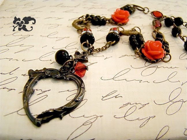 Noir Dark Valentine Heart Assemblage Necklace Vintage Style by Alyssabeths