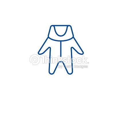 冬の赤ちゃんの服のラインアイコンの概念冬の赤ちゃんの服フラット