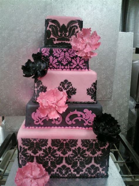 Damask Stencil Pink And Black   CakeCentral.com