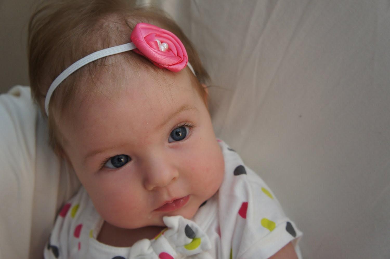 Hot Pink Satin Rosette Flower Headband