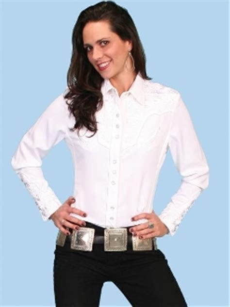 "Scully ""Lady Gunfighter"" womens White western shirt"