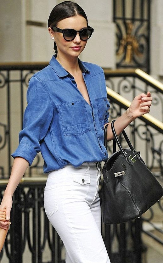 Le Fashion Blog Miranda Kerr Best Looks July 2014 -- Celine Sunglasses, G Star Denim Shirt, White High Waist Stella McCartney Flare Jeans photo Le-Fashion-Blog-Miranda-Kerr-Best-Looks-July-2014-G-Star-Denim-Shirt-High-Waist-Jeans.jpg
