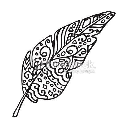 モノクロの白黒鳥の羽のベクトルイラストのアート ベクトルアート
