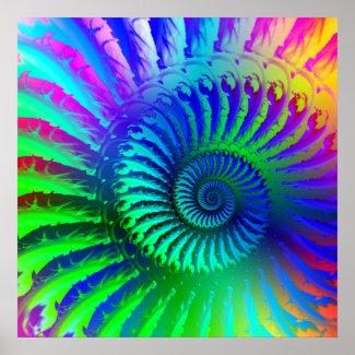 Crazy Blue Fractal Pattern Print