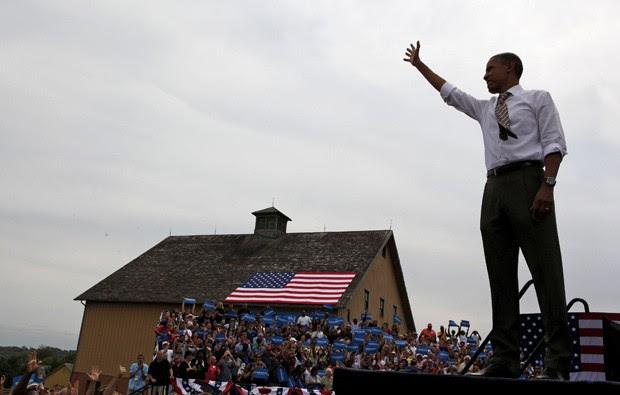 Obama durante evento político no sábado (1º) em  Urbandale, Iowa (Foto: Larry Downing / Reuters)