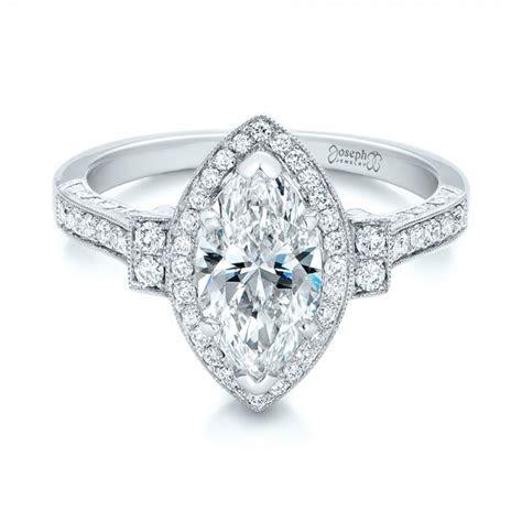Custom Marquise Diamond Halo Engagement Ring #101998