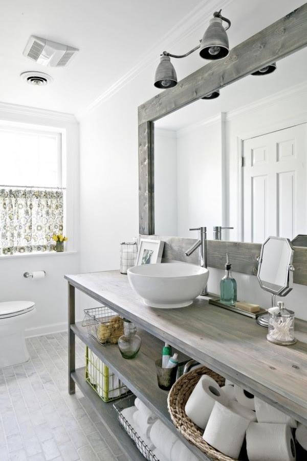 Modern Rustic Bathroom Design - Vessel Sink in Open Shelf Wood Vanity