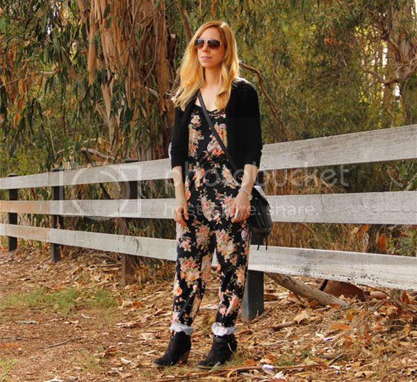 Sears Style floral jumpsuit with Bongo cardigan and Seventeen western ankle boots