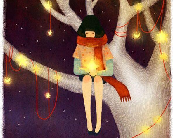 chica en arbol con estrellas