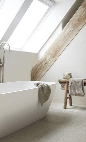 Contemporary Bath in attic space with rustic stool