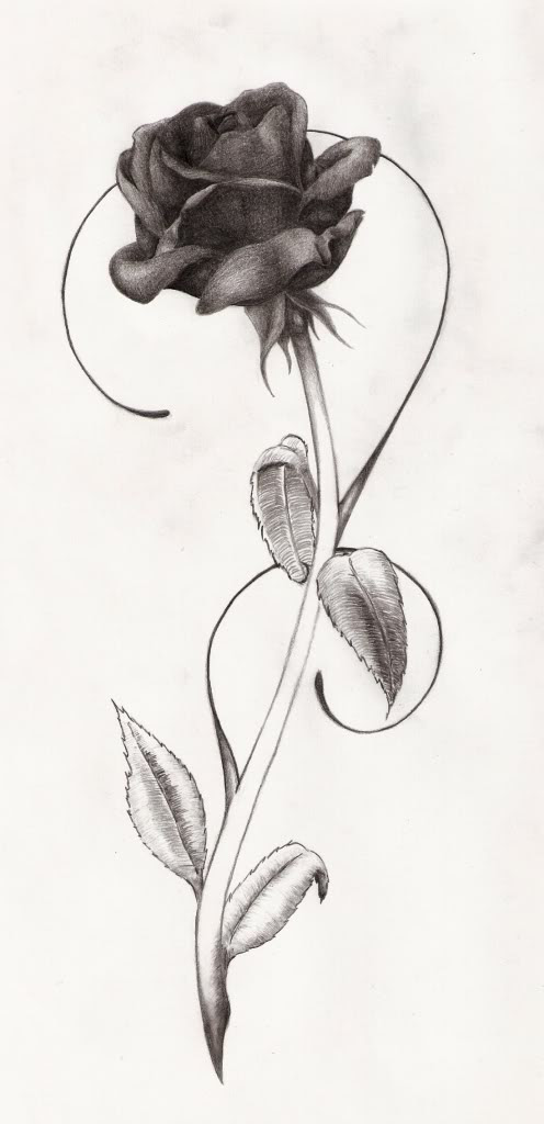 Trendy Black Rose Tattoo Design
