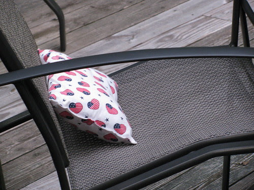 pillow in lawn chair