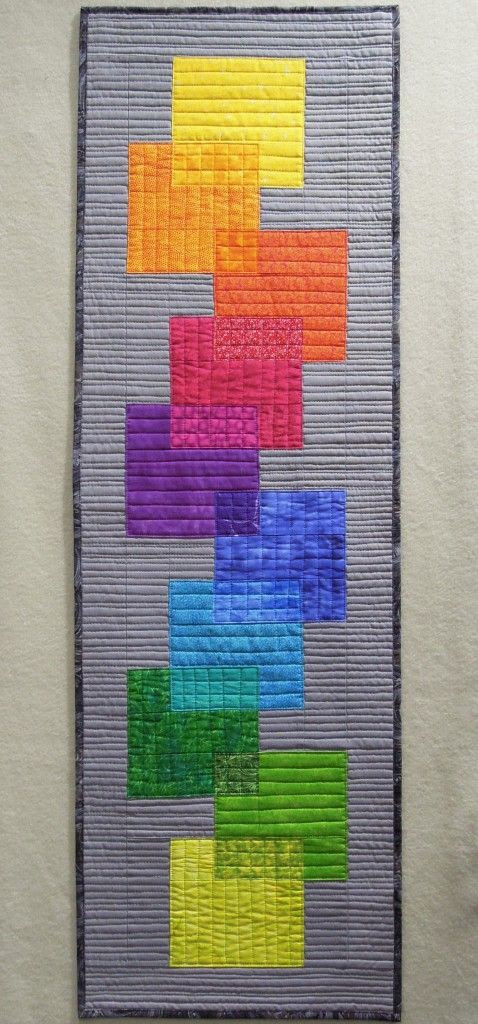 Rainbow Transparency Skinny Quilt by Terry Aske Art Quilt Studio