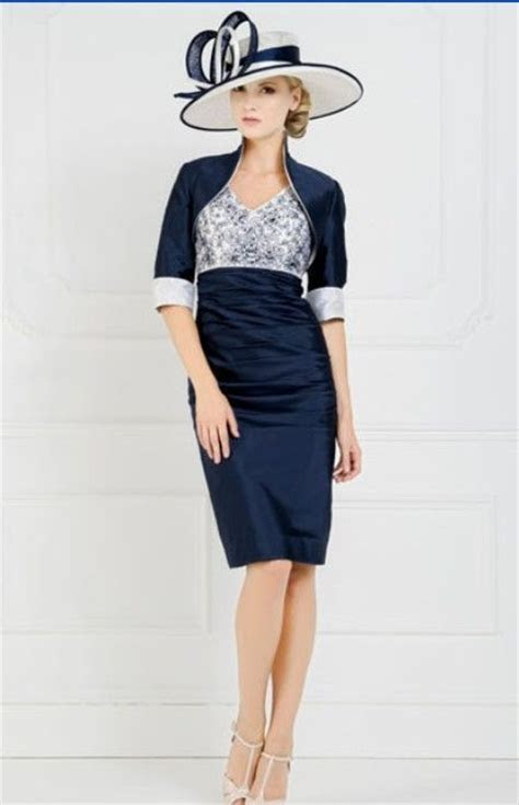 Navy Blue Mother Of The Bride Knee Length Outfits Wedding