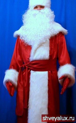 Костюм Деда Мороза красный шёлк с мехом песца.